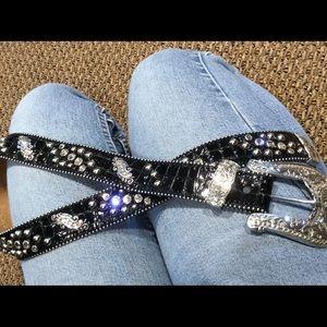 Accessories - Justin Black Gorgeous Rhinestone Fashion Belt